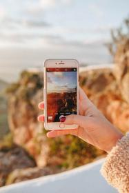 mobile, phone, camera, picture, capture, woman, girl, lady, bokeh, mountain, hills, landscape, nature, sky, clouds, iphone