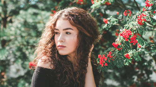 beautiful,  bright,  beauty,  fashion,  flowers,  girl,  model,  outdoors,  pretty,  season,  summer,  woman,  red,  curly hair,  female,  attractive,  lips,  colorful,  lady,  color,  face,  people,  sexy,  eyes,  nature,  young,  style,  portrait,  makeup,  green
