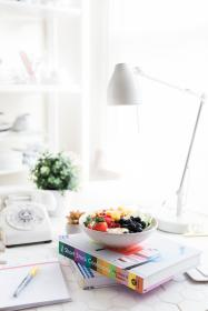 fruits, food, dessert, sweets, book, notebook, pen, table, white, lamp, interior, design