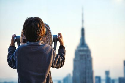 woman, girl, lady, people, back, scenic, tower, viewing, magnifiers, viewers, scopes, architecture, buildings, city, urban, metro