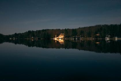 lake, water, reflection, houses, night, sky, trees, outdoors, stars