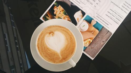 coffee, cafe, art, heart, latte, morning, hot, drink, magazine, table