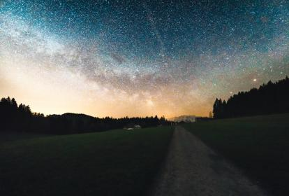 stars, galaxy, sky, night, evening, dark, lights, space, astronomy, silhouette, shadows, mountains, landscape, nature, trees