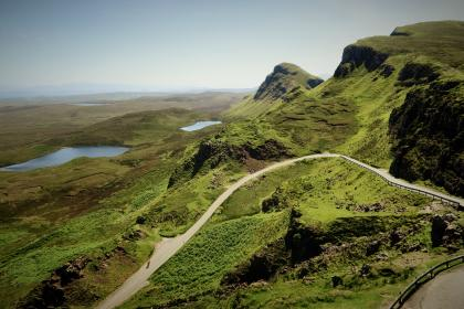 road, path, green, grass, highland, mountain, landscape, nature, blue, sky, lake, water