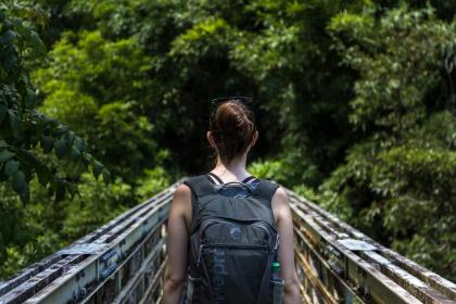 people, woman, girl, alone, walking, hike, trek, travel, mountain, bridge, green, trees, plant, outdoor, backpack, bag