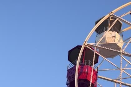 still, rides, themed, park, ferris, wheel, coaches, steel, sky, blue