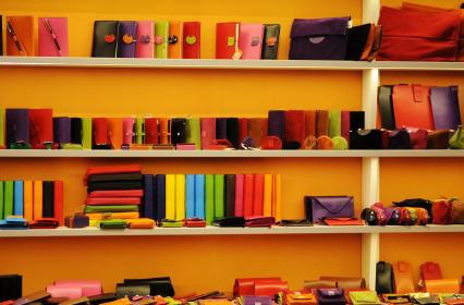 wallets, notepads, cases, shelves, colors, shop, store, merchandise