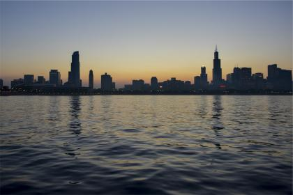 sunset, buildings, skyline, architecture, water, high rises, towers, dusk, night