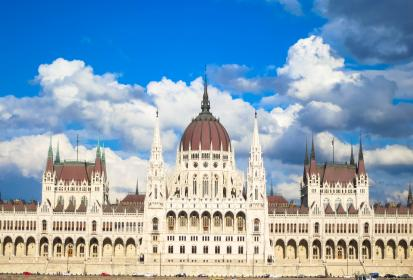 Parliament House, Budapest, Hungary, building, architecture, blue, sky, clouds