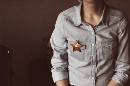 sheriff, star, denim, shirt