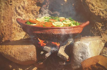 pot, grill, charcoal, outdoor, fire, sparks, smoke, rocks, tomato, green, lemon, vegetable, food, cook, boil, camp