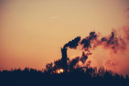 surnrise, dawn, shadows, silhouette, smoke, chimney, industrial, factory, trees, sky