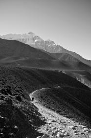 nepal, black and white, walking, stones, gravel, mountains, hills, dirt