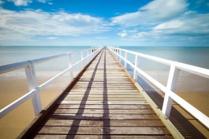 beach, sand, tropical, dock, pier, railing, wood, ocean, sea, water, sky, clouds