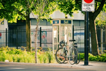 bikes, bicycles, street, pavement, sidewalk, trees, grass, bushes, posts, telephone booth, bell