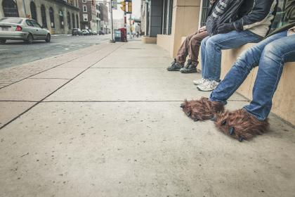 sidewalk, street, city, people, jeans, pants, shoes, slippers, urban