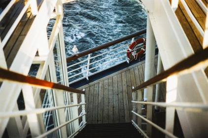 boat, ship, water, waves, wood, deck, steps, stairs, railing, lifesaver, buoy