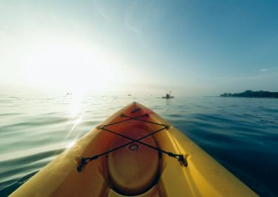 kayak, lake, water, sunshine, sports, fun, adventure, landscape, blue, sky, summer, nature