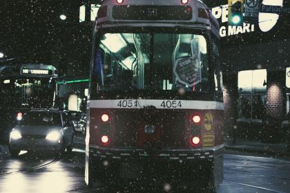 tram, vehicles, transportation, cars, road, snow, night, travel