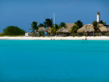 beach, sand, water, tropical, paradise, vacation, huts, swimming, blue, sky, lighthouse, ocean, sea