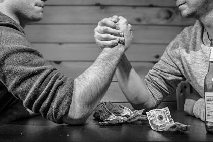 free photo of arm wrestling  money