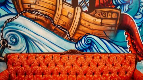 art, sofa, couch, mural, painting, wall, grafitti