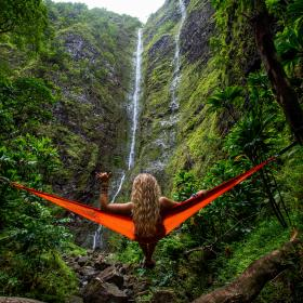 nature, landscape, mountains, lush, vegetation, plants, branches, trees, waterfalls, rocks, stream, woman, lady, people, hammock, travel, trek, climb