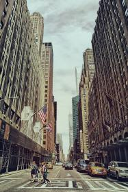 crosswalk, pedestrians, people, streets, roads, cars, buildings, city, architecture, New York, flags, urban, towers