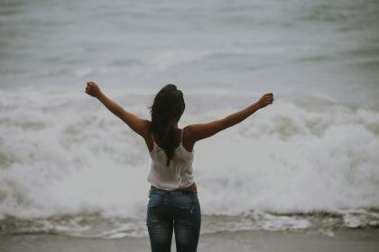 people, woman, happy, enjoy, freedom, water, ocean, sea, beach, waves
