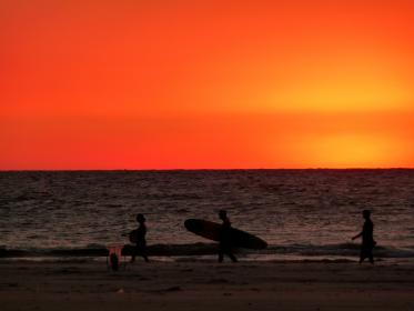sunset, red, sky, beach, sand, ocean, water, surfing, surfer, surfboard, summer