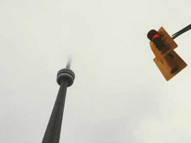 architecture, building, infrastructure, structure, cn tower, stop light, clouds, sky