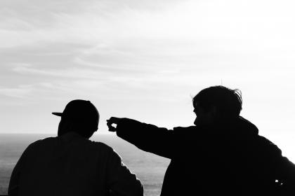 guys, men, guy, man, people, silhouette, shadow, pointing, sky, clouds, ocean, sea, black and white, friends