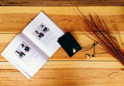 wood, table, book, reading, daisy, flowers