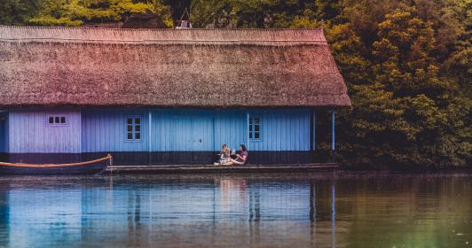nature, water, lake, sea, reflection, house, home, cottage, cabin, boat, trees, woman, man, people
