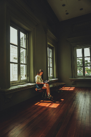 girl,  reading,  magazine,  book,  alone,  room,  desk,  window,  house,  home,  smile,  young,  chair