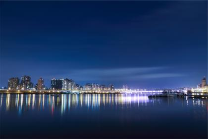 water, reflection, city, buildings, architecture, night, dark, evening, sky