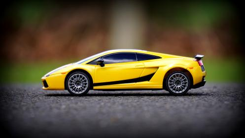 crafts, hobby, miniature, cars, still, items, things, toys, model, scale, lamborghini, aventador, yellow, asphalt, ground, bokeh