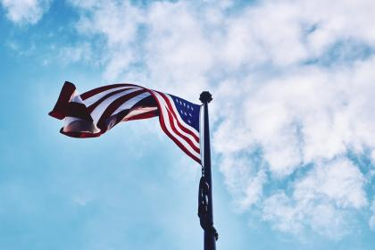 american, flag, blue, sky, United States, USA, stars and stripes, clouds