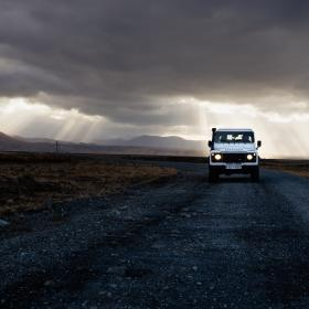dark, sky, clouds, path, road, grass, sunlight, car, vehicle, travel, outdoor