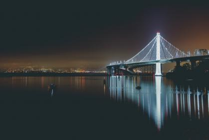 architecture, bridge, structure, infrastructure, steel, lights, dark, night, reflection, ocean, river, sea