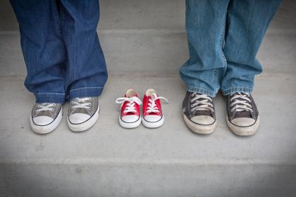 people, body, anatomy, limbs, legs, feet, sneakers, shoes, couple, baby, jeans, concrete, stairs, steps, family
