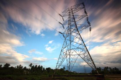 transmission, line, clouds, sky, tree, electricity, outdoor