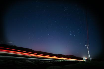 post, sky, universe, galaxy, speed, blur, vehicle, cable, asteroid, falling star, shooting star, night, dark, road, grass