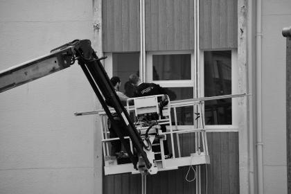 people, man, men, guy, working, cleaner, soudal, black and white, belgium, building, window, glass, steel, establishment