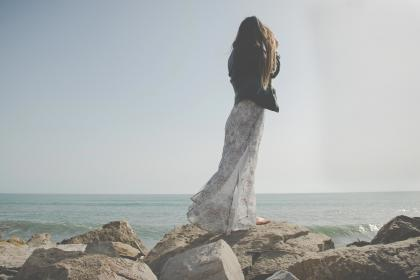 girl, woman, people, dress, fashion, lifestyle, rocks, ocean, sea, horizon, outdoors, sunshine, sky