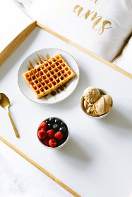 waffles,   breakfast,   berries,   top,   view,   food,   delicious,   syrup,   blueberries,   fresh,   fruit,   belgium,   plate,   spoon,   raspberry,   flat lay,  ice,  cream