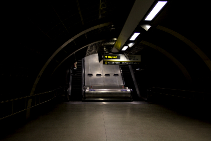 metro,  train,  station,  underground,  exite,  way out,  sign,   yellow,  stairs,  escalator,  quiet,  lights, city