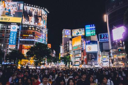 Shibuya crossing, Tokyo, Japan, Asia, people, crowd, busy, traffic, billboards, screens, lights, led, advertisements, city, architecture, night, evening, urban, walking, pedestrians, group