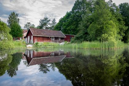 house, cottage, lake, water, reflection, green, grass, trees, plant, nature, sky, clouds