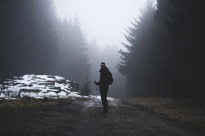 nature, landscape, people, man, alone, woods, forest, travel, adventure